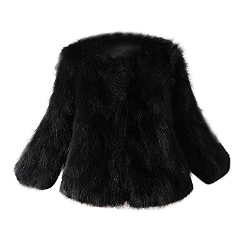 - JESPER Women Faux Fur Soft Thick Coat Jacket Fluffy Winter Plush Waistcoat Outerwear Black