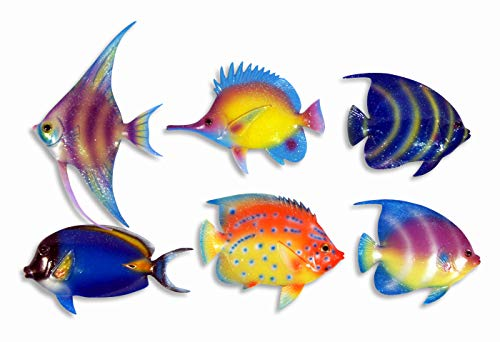 "Handpainted C-A Gliter Cartoon Tropical Fish Wall Mount Decor Plaque 6"" (Set Of 6)"