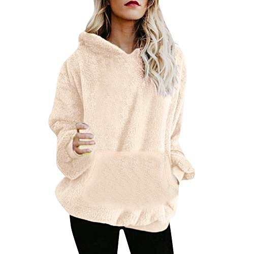 Women New Fashion Women Warm Fluffy Winter Top Hoodie Sweatshirt Ladies Hooded Pullover Jumper (US-10 /CN-XL, Beige) ()