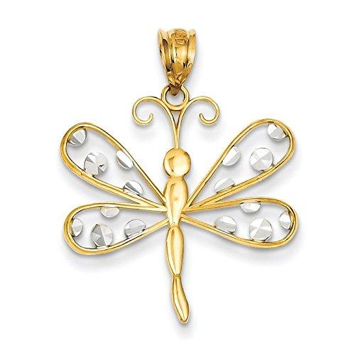 Taille 14 carats et Rhodium Diamant Libellule Pendentif-JewelryWeb