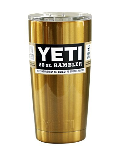 Yeti Custom Powder Coated Gold Stainless Steel 20oz (20 oz) Rambler Tumbler with Lid (Gold)