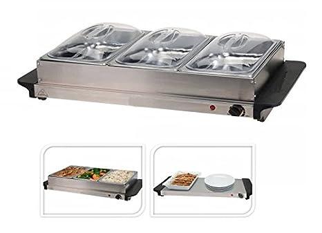 Bandeja para buffet Serve Calentador placa calefactora sartén placa caliente Acero 3 compartimentos Ollas Bandeja Tapa sartén de buffet comida Hornillo ...