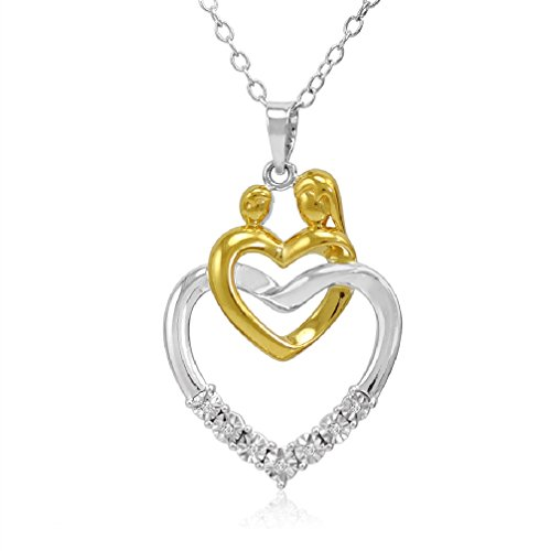2 Tone Diamond Heart Pendant (Mother and Child Diamond Heart Pendant Necklace in Two Tone Sterling Silver)
