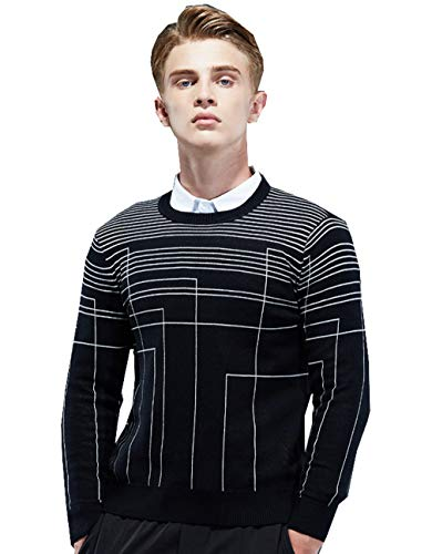 (MT-Pste Men's Crewneck Striped Slim Casual Work Knit Sweater Jumper S Black)