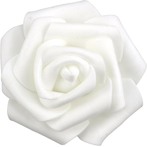 Lightingsky 7cm DIY Real Touch 3D Artificial Foam Rose Head Without Stem for Wedding Party Home Decoration (100pcs, White)