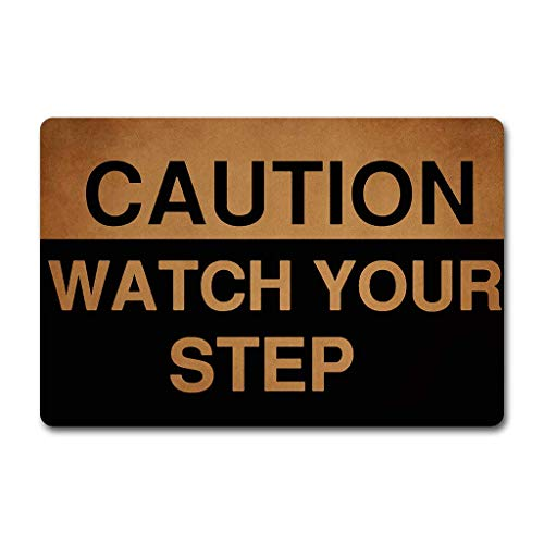 Non-Slip Doormats Accent Area Entrance Rug Caution Watch Your Step Sign Mud Dirt Trapper Welcome Mats Shoes Scraper Floor Cover for Indoor/Kitchen/Bathroom 15.7 x 23.6inch (Trapper Signs)
