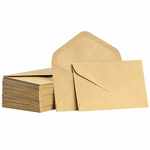 ValBox Mini Envelopes 100 Count 4.1 x 2.75 Inches Brown Kraft Envelopes Bulk Tiny Envelope Pockets for Gift Card, Small Note Cards, Business Card