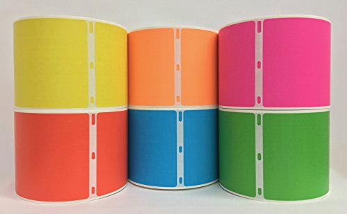 Colored Labels Shipping - 6 Rolls 2.312x4 Color Dymo Compatible 30256 Shipping Labels