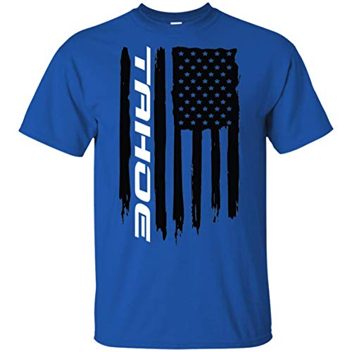 (WheelSpinAddict Chevy Tahoe American Flag T-Shirt New Maroon)