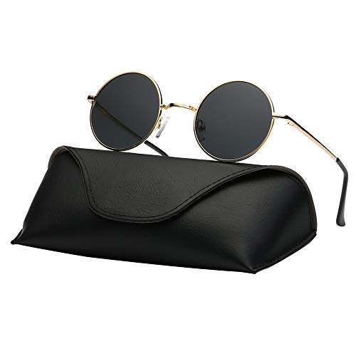 Ray Parker Fashion Classic Vintage UV Protection Round Mirrored Polarized Lens Sunglasses for Men RP8024 With Gold Frame/Grey ()