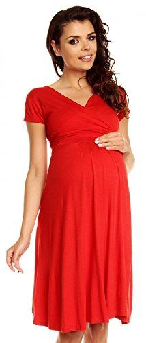 Zeta Ville - Womens Maternity Wrap V-Neck Summer Dress - Short Sleeves - 108c