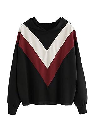 ROMWE Women's Chevron Striped V Print Hooded Sweatshirt Long Sleeve Color Block Hoodie Top Sweater