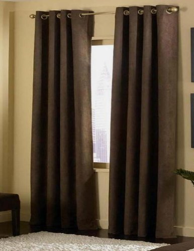 4-pieces Micro Suede Grommet Top Lined Panel Window Curtain Set, Brown