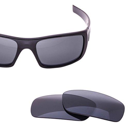 LenzFlip Replacement Lenses for Oakley CRANKSHAFT Sunglass- Gray Polarized with Chrome Mirror Lenses -