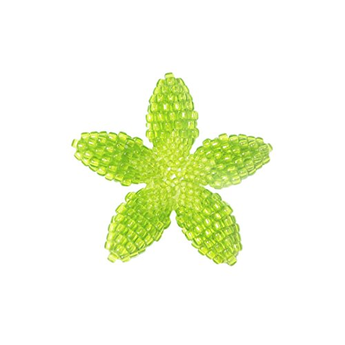 - Heart in Hawaii Beaded Plumeria Flower Brooch - Lime Green - Small