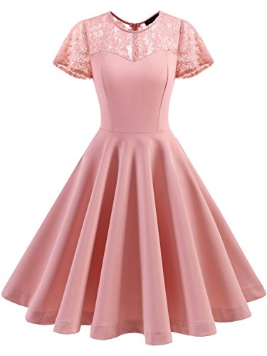 IVNIS RS90038 Women's Vintage 1950s Short Sleeve A-Line Cocktail Party Swing Dress With Floral Lace Blush L