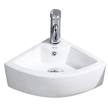 Lavandino Piccolo Per Bagno.Gimify Mini Lavabo Angolare Lavandino Da Parete Piccolo Lavello Per Bagno Con Bacinella Triangle 325 325 130mm