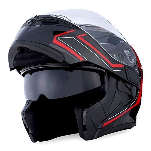 (1Storm Motorcycle Modular Full Face Helmet Flip up Dual Visor Sun Shield: HB89 Arrow Red)