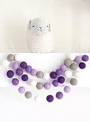 """Purple Ombre"" Handmade Wool Felt Ball Garland by Sheep Farm Felt- Purple, Gray, White Pom Pom Garla"