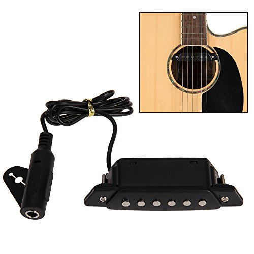 Foxpic Negro Sonido Agujero Pick-up Pickup Pastilla con Active Power Jack para Guitarra Acústica: Amazon.es: Electrónica