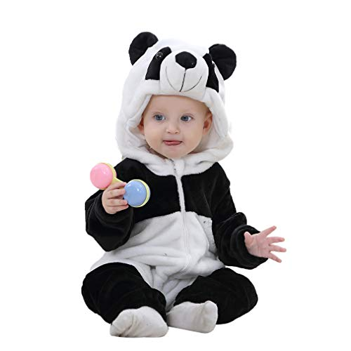 IDGIRL Toddler Panda Costume, Animal Cosplay Pajamas for Boy Winter Flannel Romper Outfit 18-24 Months, Black One -