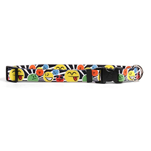 Yellow Dog Design Smiles Dog Collar with Tag-A-Long ID Tag System-Medium-3/4 and fits Neck 14 to 20