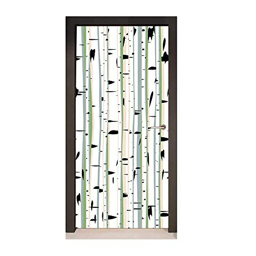 (Forest Art Door Decals Dense Tree Formation Birch Trunks Abstract Grove Botanical Countryside Backwoods Door Creative Decoration Multicolor,W17.1xH78.7)