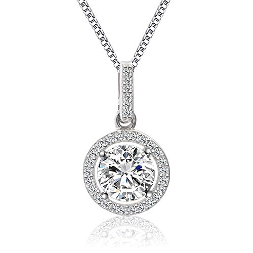 (CAT EYE JEWELS S925 Sterling Silver CZ Pendant Necklace, AAAA Halo Square Cubic Zirconia Diamond Jewelry for Women Girl SN010)