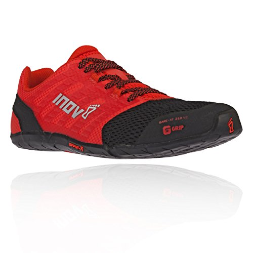 Inov-8 Mens Bare-XF 210 V2 - Barefoot Minimalist Cross Training Shoes - Zero Drop - Wide Toe Box - Versatile Shoe for Powerlifting & Gym - Calisthenics & Martial Arts - Black/Red 12 M US