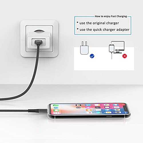iPhone Charger 10ft 2Pack, MFi Certified Lightning Cable Fast Charging Cord Extra Long Nylon Braided Phone Charger Cable Compatible with iPhone 13 12 11 Pro Xs Max Xr X 8 7 6 Plus SE 2020 10 Feet