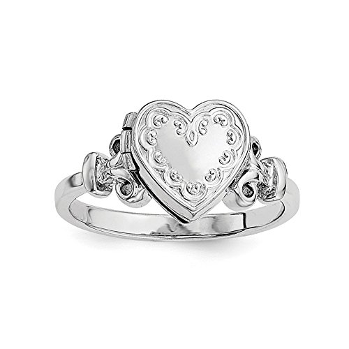 925 Sterling Silver 10mm Locket Band Ring Size 8.00 S/love Fine Jewelry Gifts For Women For Her ()