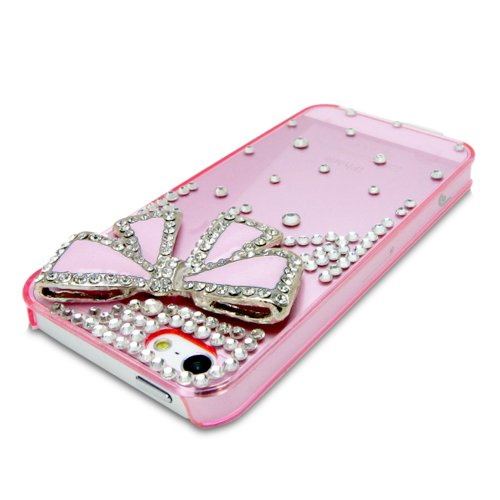 iPhone SE Case, Fosmon GEM Series 3D Bling Crystal Design Case for Apple iPhone SE / 5S / 5 - Pink Rhinestone Bow