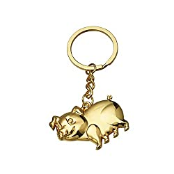 Clearance Sale!DEESEE(TM)Zodiac Piglet Key Ring Gift Pendant Metal Key Ring Gold Pig Silver Pig (Gold)