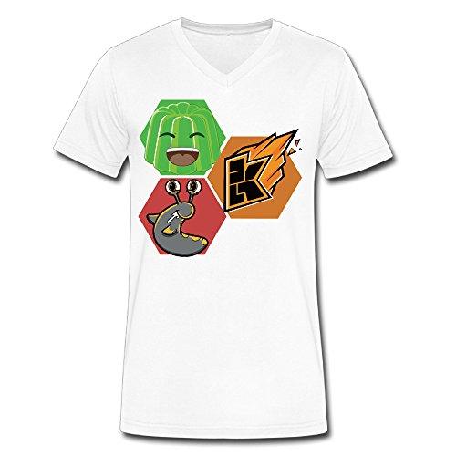 Youtube Jelly Kwebbelkop Slogoman Men's V Collar Short T Shirt White Large (Baby Jack Jack From The Incredibles)