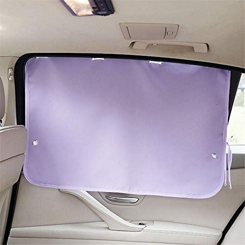 (Suction Cup car Sunshade, Front and Rear Side Glass Sun Block, Solid Color Sunscreen Insulation Curtain @Purple_7050cm-1)