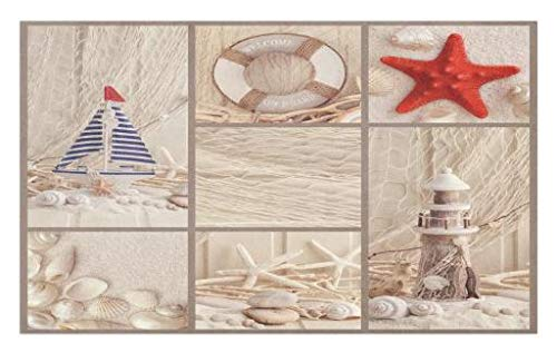 Sailboat Themed Nautical (Lunarable Nautical Doormat, Marine Sail Boat Lifebuoy Starfish Lighthouse Sand Shell Sea Life Collage Design, Decorative Polyester Floor Mat with Non-Skid Backing, 30 W X 18 L Inches, Tan Red Blue)