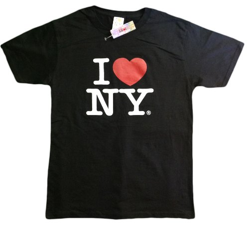I Love NY New York Kids Short Sleeve Screen Print Heart T-Shirt Black Medium
