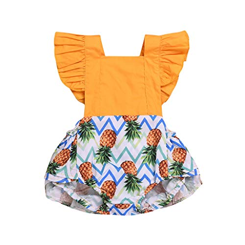 WOCACHI Toddler Baby Girls Clothes, Kids Baby Girls Ruffled Fruit Print Romper Bodysuit Clothes Summer 2pcs 3pcs Footies Outfit Onesies 0-24 Months 2-8 Years Playsuits Tutu Princess Yellow -