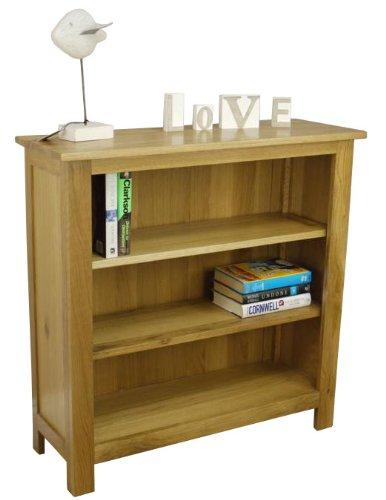 Oakland - Chunky Oak Bookcase Display With Shelves / Solid Low Wide Shelving Cabinet Unit
