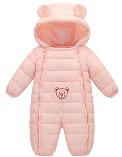 UNIQUEONE Winter Baby Girls Boys Thick Warm Cartoon Bear Rompers Hoodie Jumpsuit Children Snowsuit Coat Pram Bunting Size 12-18 Months/Tag90 (Pink)