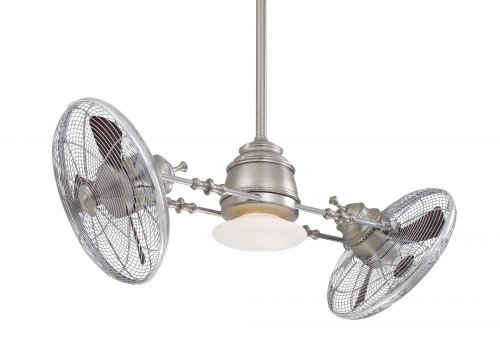 Minka Aire F802-BN CH, Vintage Gyro 42 Ceiling Fan, Brushed Nickel Chrome Finish with Light Remote Control