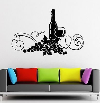 Wall Decal Wine Grapes Restaurant Kitchen Decor Vinyl Stickers VS2616