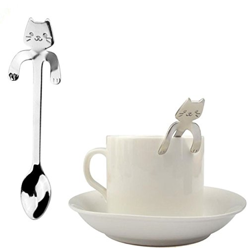 1 Pc Stainless Steel Cat Hook Spoons Professional Coffee Lat