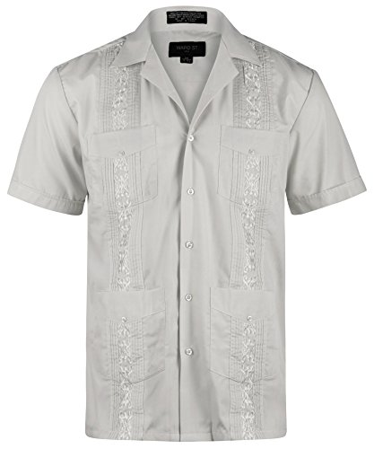 Ward St Men's Short Sleeve Cuban Guayabera, XL, 17-17.5N, Light Gray (Casual Men Xl)