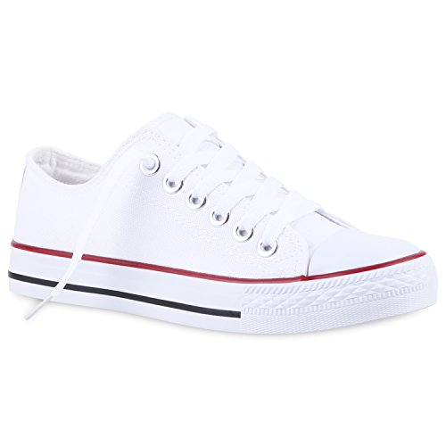 Komfortable Basic Herren Sneakers Low Schnürschuhe Helle Sohle Flandell Weiss Rotstreifen