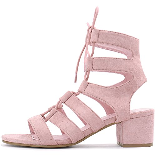 Talon Allegra Toe Sandals Découpe Lace Pink Femme Up K Ouvert qgx4wgHnA