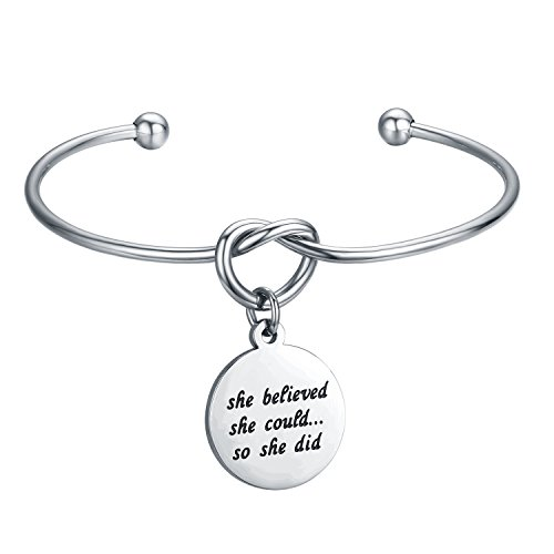 CJ&M Inspirational Bracelet Jewelry Stainless Steel She Believed She Could So She Did Love Knot Bangle Bracelet Adjustable Tie The Knot Cuff Bangle Bridesmaid (Inspirational Graduation Gifts)