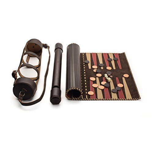 Saddleback Leather Co. Handmade Luxury Leather Backgammon Set 20 Inch Board Game with Leather Backgammon Carrying Case Includes 100 Year Warranty
