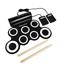 Gracefair Rechargeable Electronic Roll-Up Drum Kit , Portable Roll-up Electric Drum the Best Gift for the Kids with 7 drum pads 2 foot pedals
