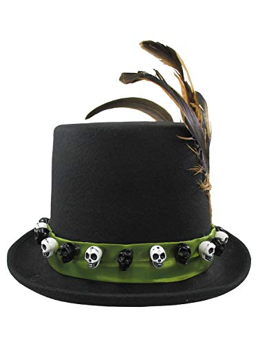 Jacobson Hat Company Men's 6 Inch Deluxe Voodoo Witch Doctor Hat with Green Satin Band,Black,One size -